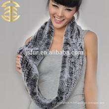2015 nouveau produit en gros Hotsale hiver foulard véritable rex lapin tricot foulard fourrure