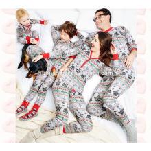 100% algodón de manga larga 2 unids conjunto impreso ropa de dormir peinado a juego pijamas de Navidad en el precio de fábrica