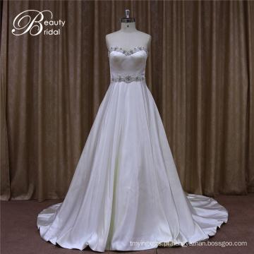 Ruffle vestidos de noiva de cetim marfim barato