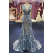 Blue Flower Beading Mermaid Evening Dress