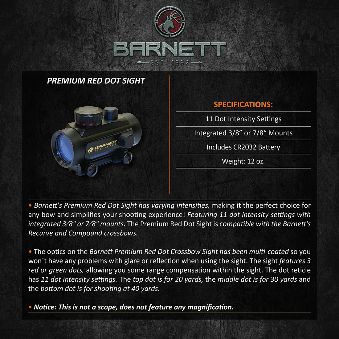 Barnett Premium Red Dot Sight Product Description