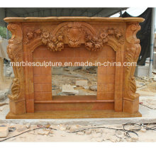 Hot Salling Factory Custom Made Marble Fireplace with Flowers (SY-MF215)