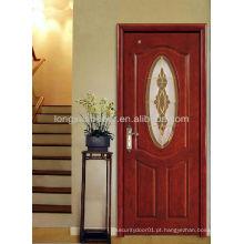 Design de vidro Porta de madeira de entrada moderna