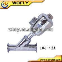 Válvula elétrica de assento angular de conexão rápida de aço inoxidável