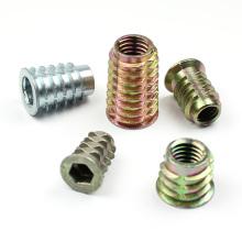 carbon steel zinc plain female male e-nut wood insert nut wood dowel nut fixing screw