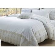 Juegos de cama de lujo 100 conjuntos de cama de algodón de color sólido con encaje