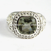 Neueste Design Green Amethyst Edelstein 925 Sterling Silber Ring