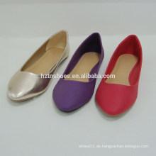 Neue Ankunft bequeme piont Zehefrauen reine Farbe beschuht flache Schuhe für Dame