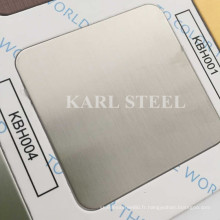 304 acier inoxydable couleur argent Hairline Kbh004 feuille