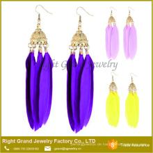 Mode Ohrring Designs neue Modell Ohrringe Dame billige natürliche lange Feder Ohrring
