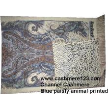 Châle en laine de cachemire Blue Paisly Leopard Ty0901