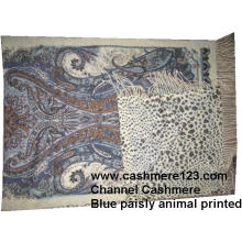 Cashmere Wool Shawl Blue Paisly Leopard Ty0901