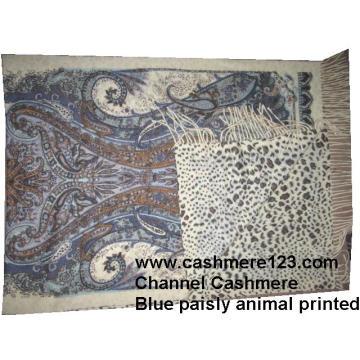 Кашемировая шерстяная шаль Blue Paisly Leopard Ty0901