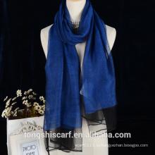 2016 чистый цвет двойной слой шерсть с шелковый платок для леди