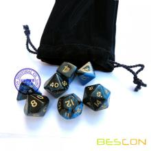 Gemini RPG Dice Set (Black and Blue) Role Playing Game Dice