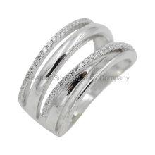 Jóias de prata esterlina altamente polido dedo anelar das mulheres '(kr3054)