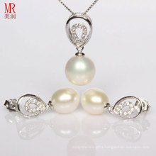 Drop Pearl Pendant Earrings Silver Sets