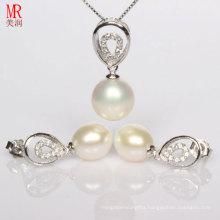 Drop Pearl Pendant Earrings Silver Sets
