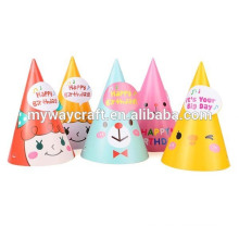 cheap price handmade glossy lamination die cut cute paper birthday party hat for mother and child