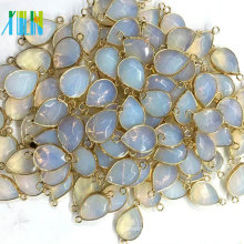 Gold Plated Faceted Drop Opal Bead Connector Double Links Handmade Gemstone Charm Jewelry