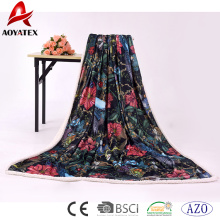 promotion good quality printed micromink and sherpa throw blanket