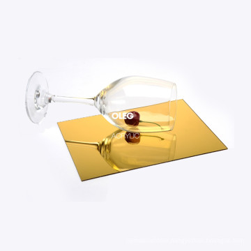 OLEG high quality 2mm 3mm 5mm thickness golden acrylic mirror sheet