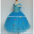 Bleu Sequin Fille Cendrillon Robe Tulle Papillon Princesse Tutu Robe Enfants Partie De Noël Halloween Cosplay Cendrillon Costumes