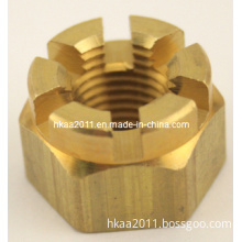 Customized High Precision Hexagon Slotted Brass Castle Nut for Mounting Radiator
