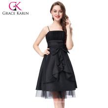 Grace Karin 2016 correas de espagueti de las señoras Bow-Knot adornó el vestido de coctel corto negro del baile de fin de curso de la tarde 8 Tamaño US 2 ~ 16 GK001001-1