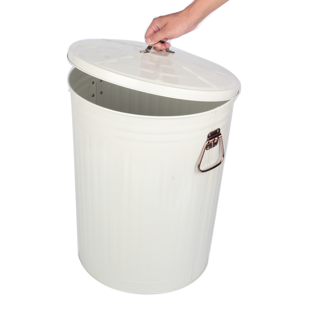 Painting White Garden Trash Can