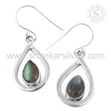 Glazed Labradorite Gemstone Earring 925 Sterling Silver Jóias Jóias Jaipur Handmade Silver Jewelry