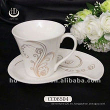 Taza de cerámica de calidad superior, taza hermosa de la taza del té / café de la etiqueta engomada hermosa con los platillos