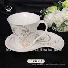 Copa de cerâmica de alta qualidade, decalque bonito chá / xícara de café por atacado com pires