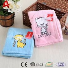 Lovely animal embroidered coral fleece baby blanket