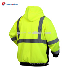 High Visibisity Two Tone Sweatshirt,Full Zip Reflective Safety Work Hoodie with Pocket