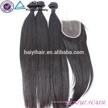 Fechamento brasileiro do laço da linha fina natural reta do estilo 4x4 do cabelo do Virgin com pacote