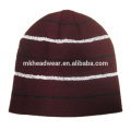 100% acrylic plain knitted reflective beanie hat , beanie hat with reflective stripes