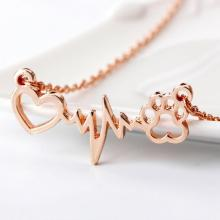 Love Bear Paw Dog Footprint ECG Heart Beat Necklace Women Bling Clavicle Chain Jewelry Gift