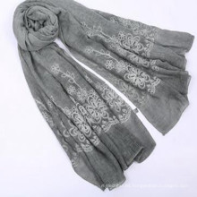 Señora moda 180 * 90size peso 100 gorganic algodón bufanda mujeres algodón hijab bufanda