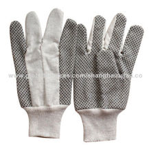 """8oz Cotton Canvas Gloves with Black PVC Dots, Knitted Wrist, 10.5""""New"""