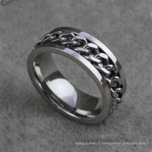 Anneaux de chaîne unique en acier inoxydable bijoux, bijoux anneau flexible