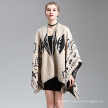 Womens Cashmere Feel Diamond Geometry Printing Cape Stole Poncho Shawl (SP294)