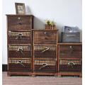 Antique Rattan Furniture Living Room Wood Storage Bathroom Cabinet