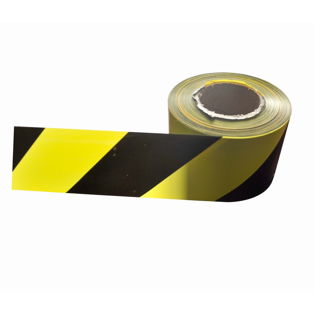 Black and yellow PE plastic safety warning tape