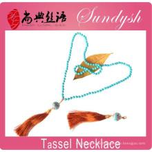 Quaste Halsketten, 4mm Mode handgeknüpfte schwarze lange Kristall Boho Perlen Quaste Halsketten