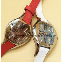 Элегантные женские Кожаный ремешок из нержавеющей стали часы с Кристалл