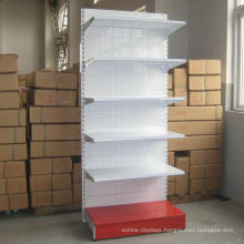 Metal Back Panel Single Side Gondola Rack Shelving Supermarket