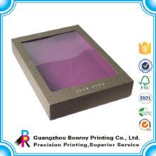 Caja de empaquetado púrpura de encargo de lujo de la ropa del tablero de papel