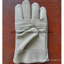 Kevlar Stitching Leder Arbeitshandschuhe mit Canvas Cuff, A Grade Ungefüttert WIG MIG Leder Schweißen Handschuhe, gute Qualität Kuh Korn Leder Schweißer Handschuhe