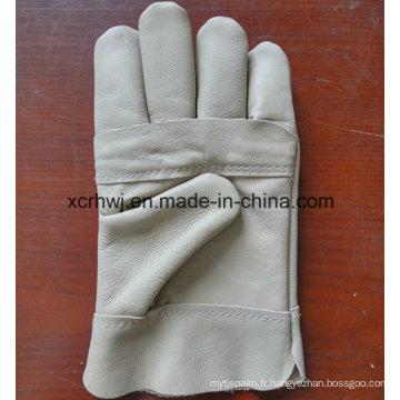 Gants de travail en cuir de couture Kevlar avec poignet en toile, gants de soudure en cuir TIG MIG sans grade, gants de soudure en cuir grain de vache de bonne qualité